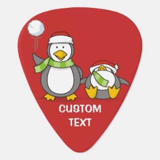 Christmas Snowballing penguins Plectrum