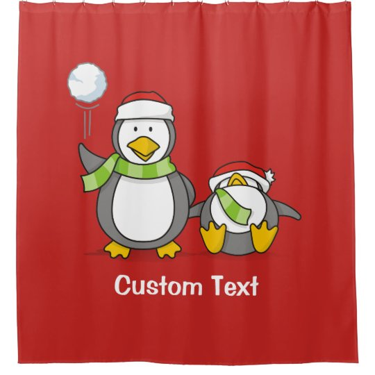 Christmas Snowballing penguins Shower Curtain
