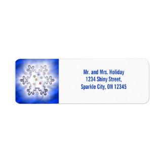 Christmas Snowflake Blue Return Address Label