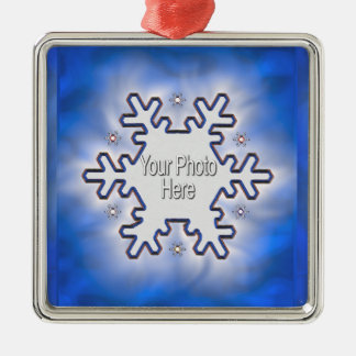 Christmas Snowflake Blue (photo frame) Silver-Colored Square Decoration