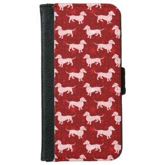 Christmas Snowflake Dachshunds Red iPhone 6 Wallet Case