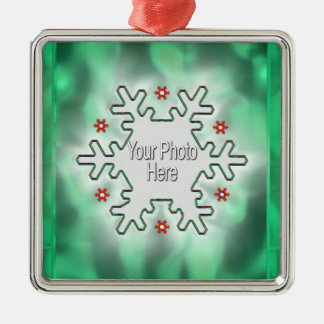 Christmas Snowflake Green (photo frame) Silver-Colored Square Decoration