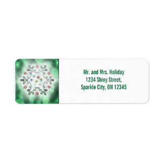 Christmas Snowflake Green Return Address Label