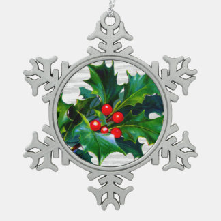 Christmas Snowflake Holly Berry Holiday Keepsake Pewter Snowflake Decoration