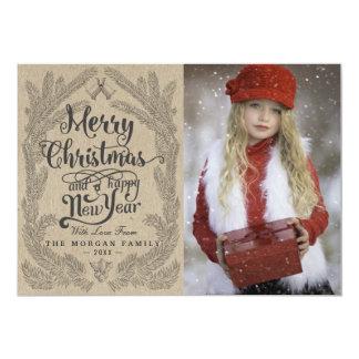 Christmas Snowflake & Kraft Paper Holiday Greeting Card