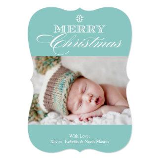 Christmas Snowflake   Light Blue 13 Cm X 18 Cm Invitation Card