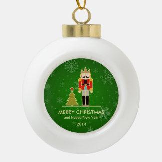Christmas Snowflake - Nutcracker Holiday Greeting Ceramic Ball Decoration