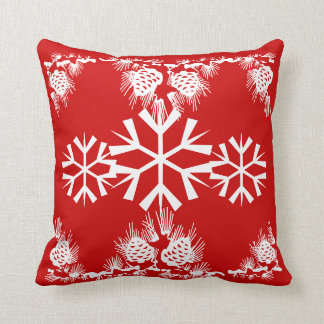Christmas snowflake pine cones throw cushion