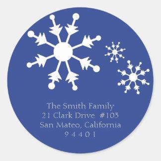 Christmas Snowflake Return Address Labels Round Sticker