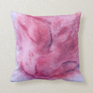 Christmas Snowflake Sleepy Cat Throw Pillow