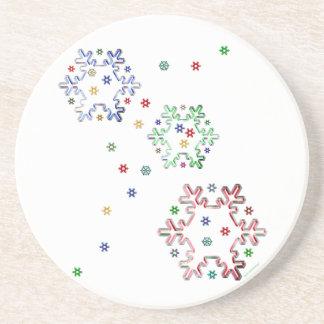 Christmas Snowflake Stars Beverage Coaster