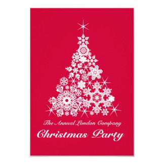Christmas snowflake tree party invitation red