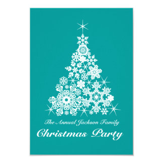 Christmas snowflake tree party invitation teal