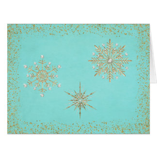 Christmas Snowflakes Aqua & Gold Card