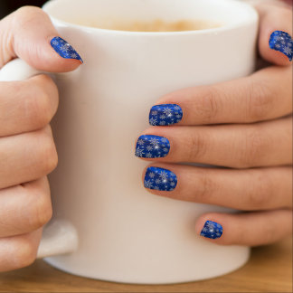 Christmas Snowflakes Beautiful Blue Minx Nail Art
