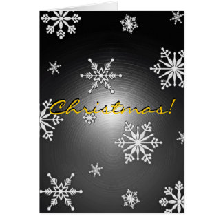 Christmas Snowflakes Black And Grey In English I Greeting Card