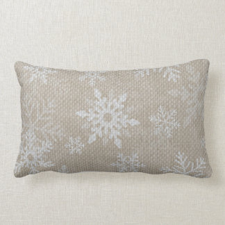 Christmas Snowflakes Burlap Pillow
