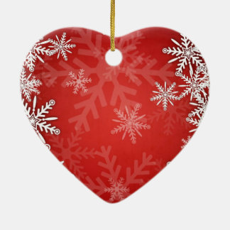 Christmas snowflakes ceramic heart decoration
