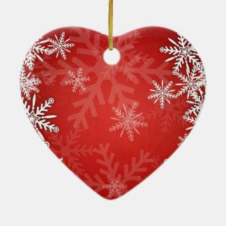 Christmas snowflakes ceramic heart decoration