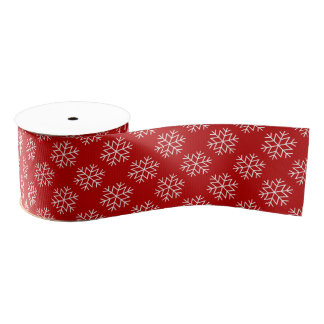 Christmas Snowflakes on Red Ribbon Grosgrain Ribbon