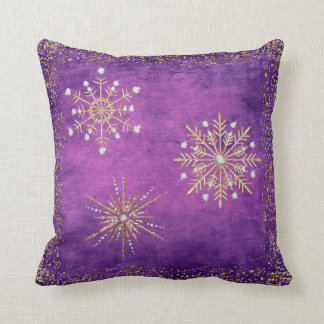 Christmas Snowflakes Purple & Gold Glitter Throw Pillow