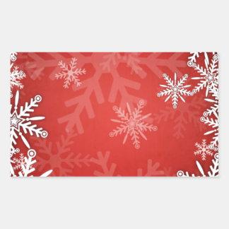 Christmas snowflakes rectangular sticker