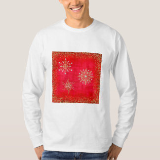 Christmas Snowflakes Red & Gold Glitter T-Shirt