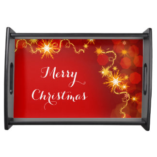 Christmas snowflakes red modern food trays