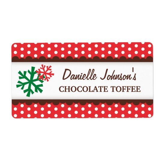 Christmas snowflakes red polka dot canning jar shipping label