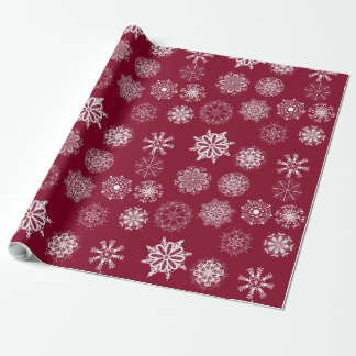 Christmas snowflakes red wrapping paper