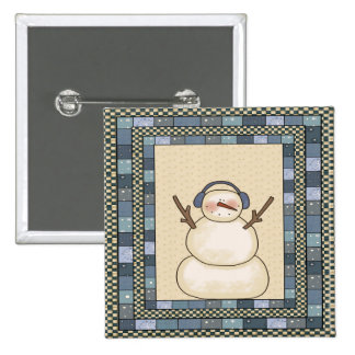 Christmas Snowman 15 Cm Square Badge