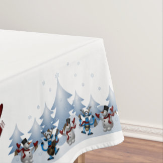 Christmas Snowman and Friends Tablecloth