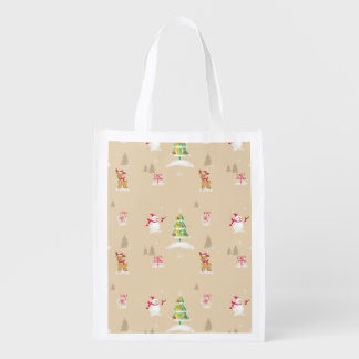 Christmas snowman and reindeer pattern reusable grocery bag