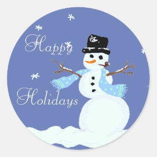 Christmas Snowman Blue Stickers