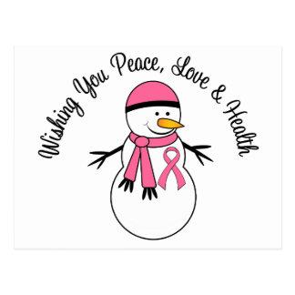 Christmas Snowman Breast Cancer Ribbon Postcard
