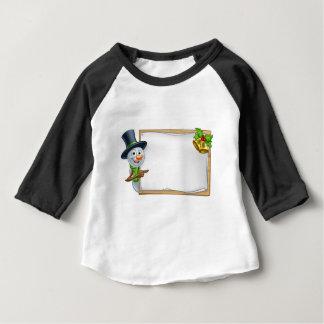 Christmas Snowman Cartoon Sign Baby T-Shirt