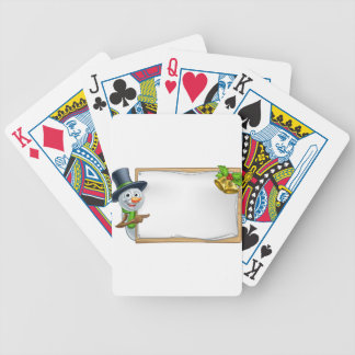 Christmas Snowman Cartoon Sign Bicycle Playing Cards