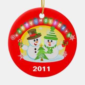 Christmas Snowman Couple Tree Ornament