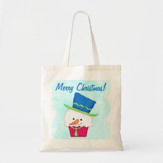 Christmas Snowman Cupcake Art Reusuable Shopping Budget Tote Bag
