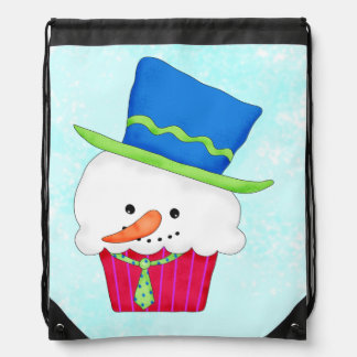 Christmas Snowman Cupcake Art Shopping Drawstring Bags