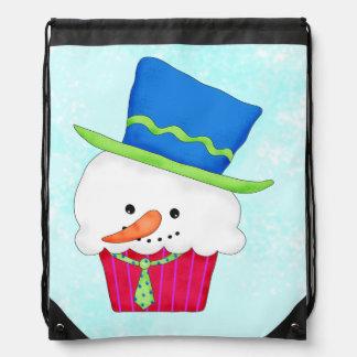 Christmas Snowman Cupcake Art Shopping Drawstring Bag