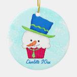 Christmas Snowman Cupcake Name Personalised Round Ceramic Decoration