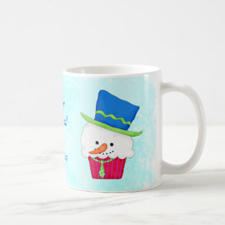 Christmas Snowman Cupcake Name Personalized Coffee Mug