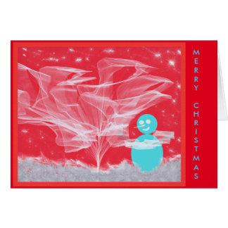 Christmas Snowman Decorating Tree Card