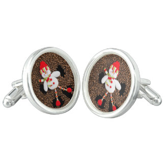 Christmas snowman decoration cuff links