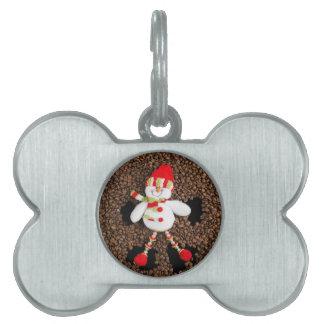 Christmas snowman decoration pet name tag