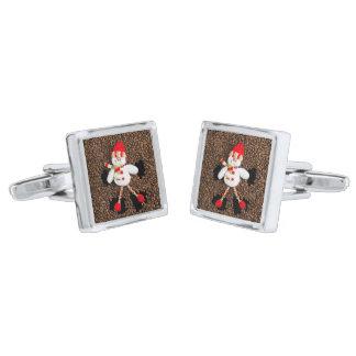 Christmas snowman decoration silver finish cufflinks