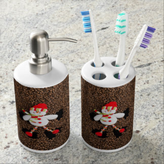 Christmas snowman decoration soap dispenser and toothbrush holder