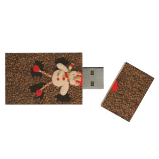 Christmas snowman decoration wood USB flash drive