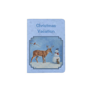 Christmas Snowman Deer Cute Bunny Blue Passport Holder